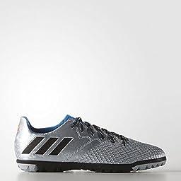 adidas Performance Boys\' Messi 16.3 TF J Skate Shoe, Silver Metallic/Black/Shock Blue, 6 M US Big Kid