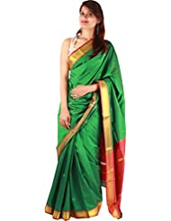 Green Artificial Silk Indian Saree Zari Plain Border Work Designer Sari