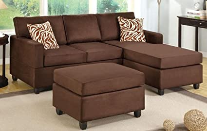 3 pc Chocolate Microfiber sectional sofa with reversible chaise with Free pillows and ottoman