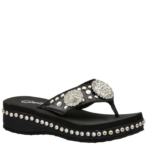 Grazie Women'S Gleam Sandal - 6.5 M - Black front-557092