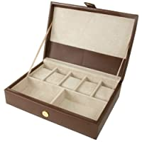 Valet Watches and Jewelry Box Storage Case Leather Brown by Tech Swiss