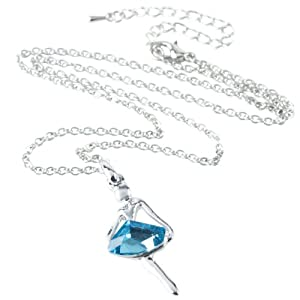 eFuture(TM) Ballet Angel Dance Girl Dancing Ballerina Crystal Pendant Necklace,Ocean Blue +eFuture's nice Keyring