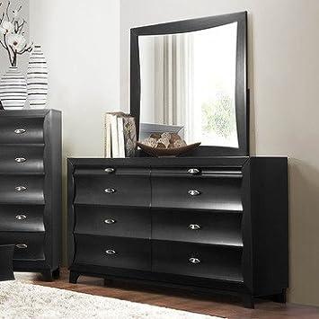 Homelegance Zandra 6 Drawer Dresser W/ Mirror In Pearl Black