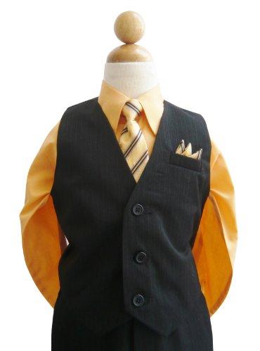 Classykidzshop Black Orange Toddler Boys Vest Set (Baby-Small) front-713716