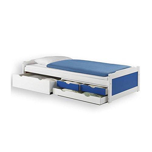 Lit fonctionnel avec rangements ANDREA, 90 x 200 cm pin massif lasuré blanc bleu