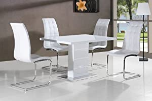 WHITE High Gloss 120cm 39 Arezzo 39 Dining Table With Four