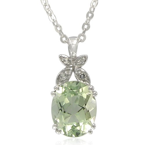 Sterling Silver Oval-Shaped Green Amethyst with White Topaz Accent Pendant Necklace, 18.5