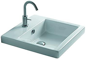 "WS Bath Collections Hox 48.03 - WS07601F Ceramic Recessed Bathroom Sink with Single Faucet Hole and Overflow, 18.9"", White"