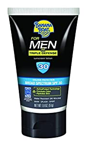 Banana Boat Sunscreen for Men Triple Defense Broad Spectrum Sun Care Sunscreen Lotion - SPF 30, 2 Ounce