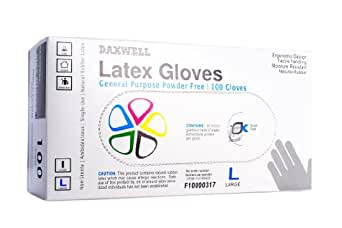 Daxwell F10000317 Natural Rubber Latex General Purpose Glove, Powder Free, Large, Ivory (10 Boxes of 100 Gloves)