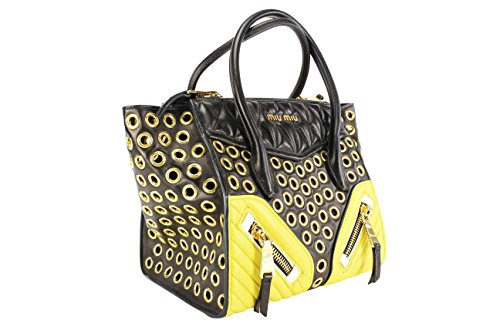 Miu Miu Womens Shoulder Bag Multi-Color Yellow Leather Miu Miu Bags Light
