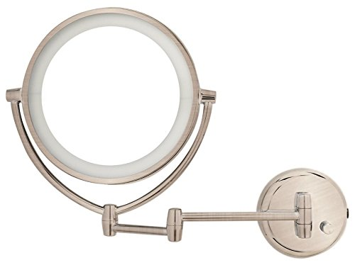 Danielle Led Lighted 2-Side Wall Mount Mirror With 10X Magnification, Satin Nickel