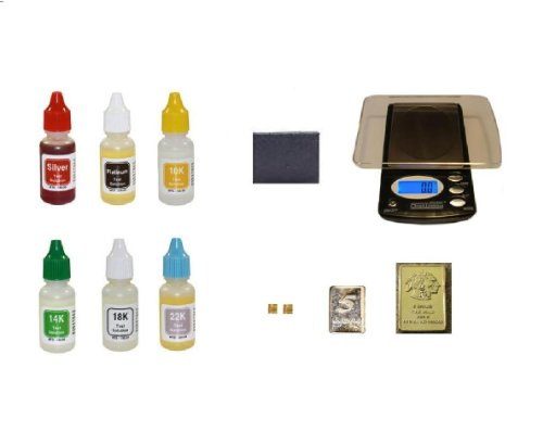 PuriTEST Complete Set Acid Test Kit with Electronic Scale, Accessories & More- Gold Silver Platinum Tester