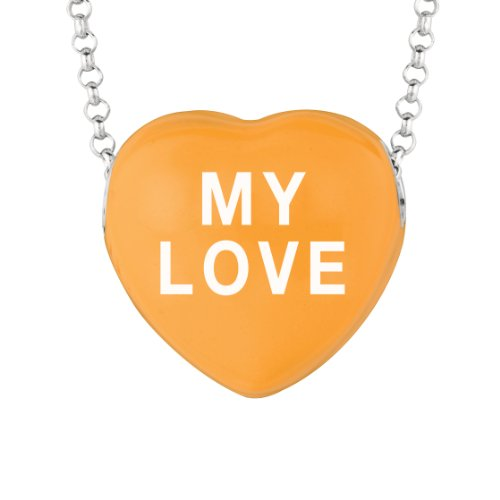 Sweetheart Jewelry Sterling Silver 17mm Orange Enamel Sweethearts My Love Heart Pendant Necklace