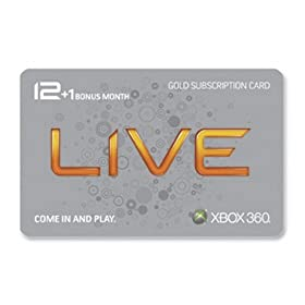 Xbox 360 Live 12 Month Gold Card plus 1 Month BonusXbox 360 Live Subscription Gold Card