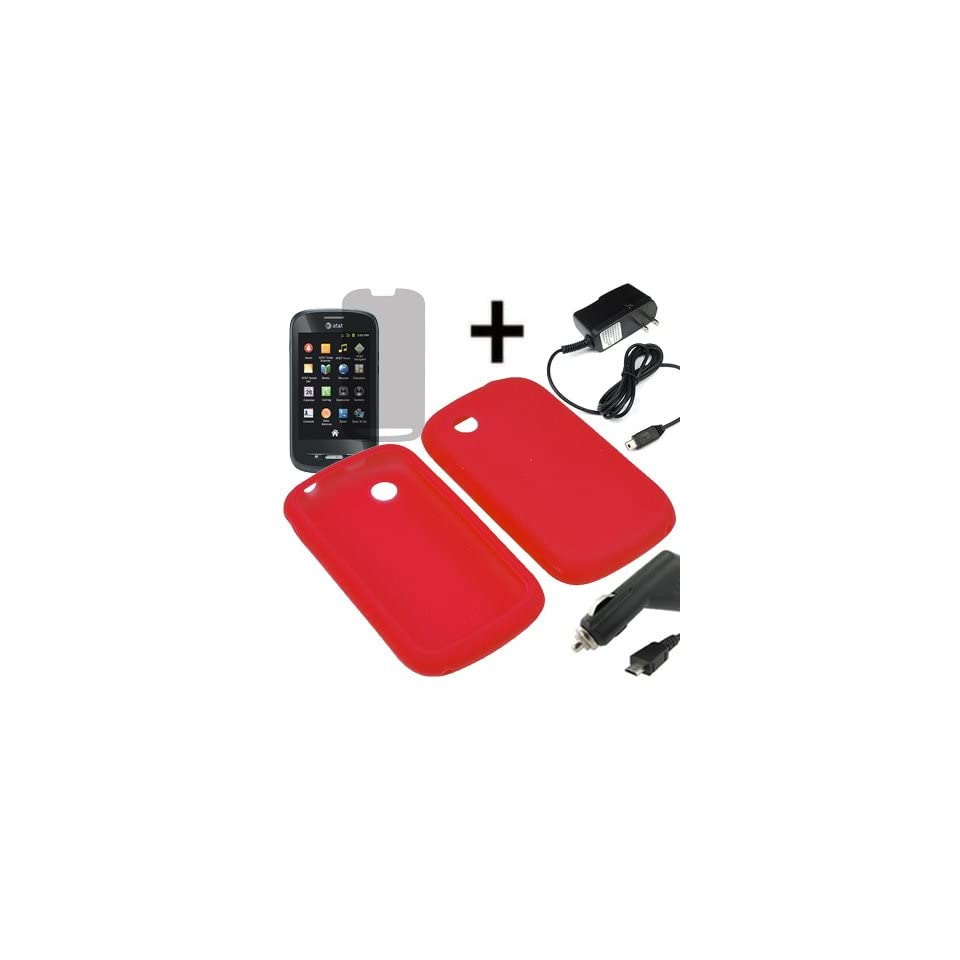 AM Soft Sleeve Gel Cover Skin Case for AT&T ZTE Avail Z990 + LCD + Car Home Charger Red