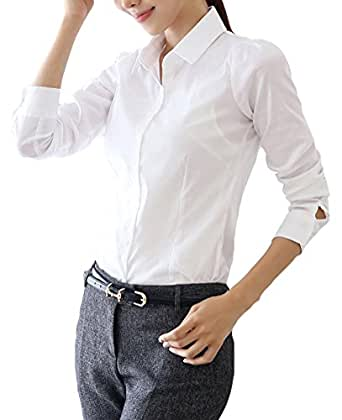 Halife women 39 s lapel collar white button down shirt long for Womens button down shirts fitted