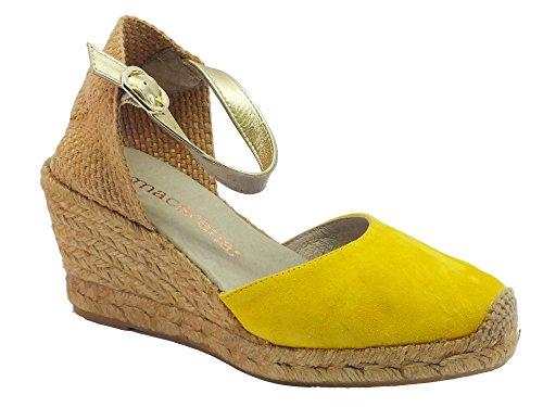 Campesina Macarena per donna in camoscio giallo zeppa alta (Taglia 39)