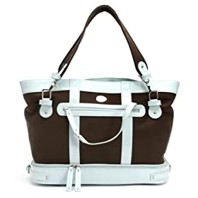 Nest Diaper Bag - Chocolate Canvas With Pool Blue Patent Leather Trim