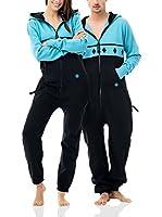 ZIPUPS Mono-Pijama Rhombi (Negro / Azul Claro)