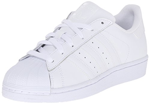 Adidas Originals Superstar Foundation J Casual Basketball-Inspired Low-Cut Sneaker (Big Kid),White/White/White,4 M US Big Kid