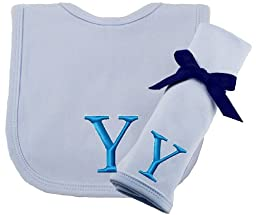 Princess Linens Embroidered Blue Initial Cotton Knit Bib and Burp Cloth Set, Y