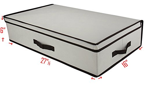 3 Handle Low Profile Natural Canvas Storage Box with Brown Trim, Convenient Storage Box with Lid, Size: 27 ½ x 15.7 x 6'' (Storage Low Profile compare prices)