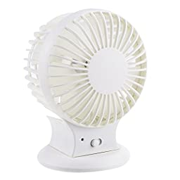 VOLADOR USB Desktop Fan Rechargeable Battery Operated Fan Portable Double Blades Mini Electric Fan Quiet Personal Fan PC/Laptop Cooler Adjustable Angle(White)
