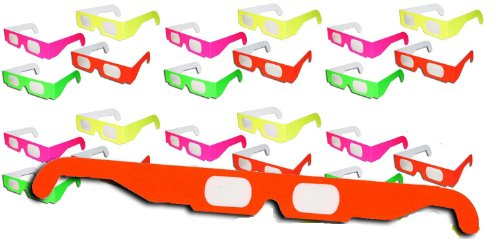 1 X 20 Pairs - Neon Prism Diffraction Fireworks Glasses - For Laser Shows, Raves - Ships Flat - 1