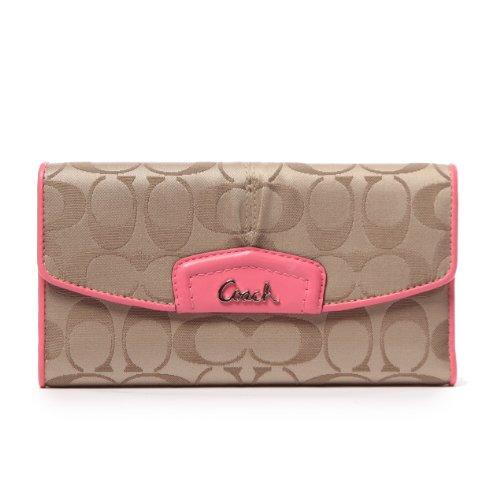 Women s Coach Ashley Signature Sateen Checkbook Wallet Khaki Punch Pink e04aa48124f9e