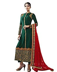 pakiza design new green embroidered georgette partywear festival salwar suit dress material