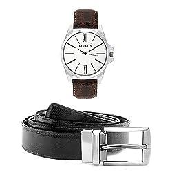 Laurels Men's Belt And Watch Combo (White,Brown) (OM-0109 BT-01)
