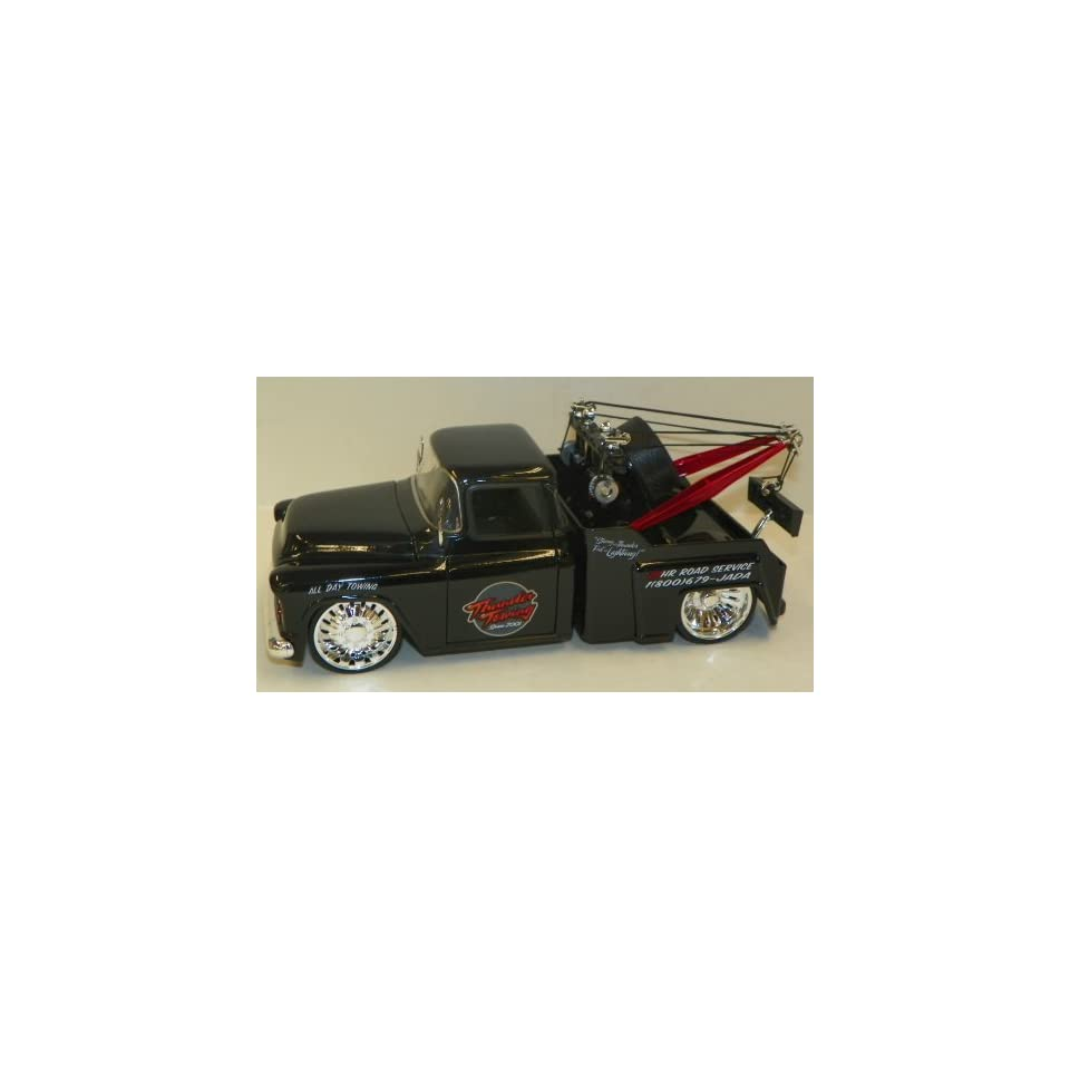 Jada Toys 1/24 Scale Diecast Big Time Kustoms 1955 Chevy Stepside Tow Truck in Color Black