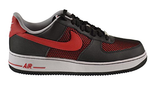Nike Air Force 1 Mens Shoes Black University Red-Wolf Grey-White 488298-062  - 5f320bf7d