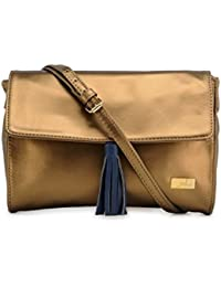 Yelloe Stylish Copper Synthetic Leather Sling Bag With Blue Tassel For Chick Look