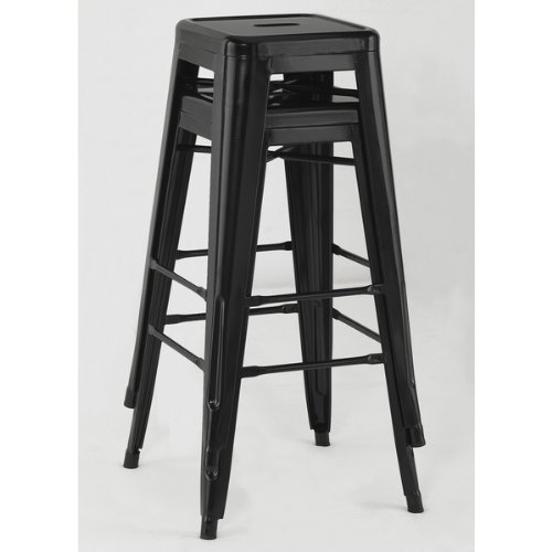 Galleon Tabouret 30 Inch Black Metal Bar Stools Set Of 2