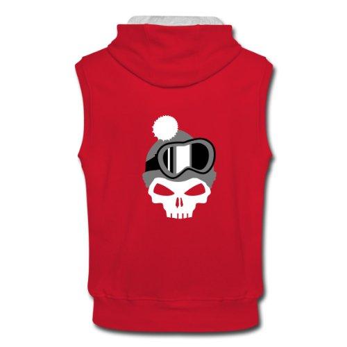 Spreadshirt, Totenkopf mit Mütze und Snowboardbrille, Men's Sleeveless Hoodie, red/ash, M