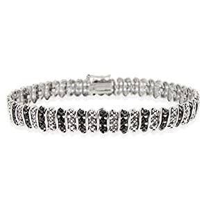 Sterling Silver Black Diamond Accent S Pattern Tennis Bracelet