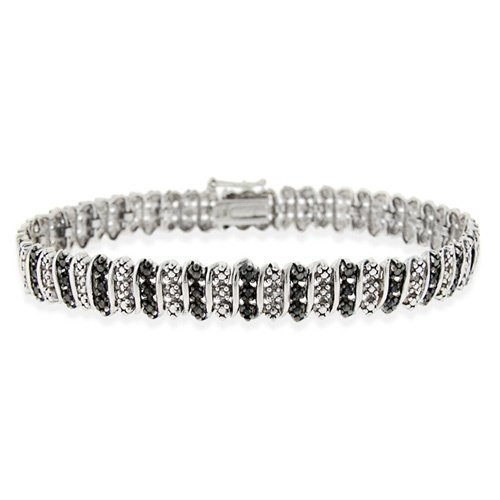 Sterling Silver Black Diamond Accent S Pattern