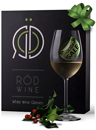RÖD Wine Unique Gift Glassware Collection Lead Free Crystal White Wine Glasses (12-Ounce, Set of 3) (Titanium Crystal Wine Glasses compare prices)