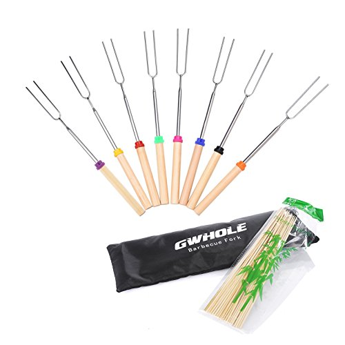 gwhole-8-pcs-extendable-marshmallow-sticks-bbq-forks-31-82cm-with-bamboo-sticks-and-canvas-pouch-one