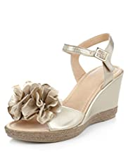 Leather Floral Corsage Wedge Sandals
