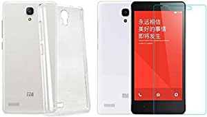 Xiaomi redmi note 4G transparent back cover (Crystal clear silicon soft back cover )(with tempered glass 2.5D Curved 0.33 MM tempred glass )