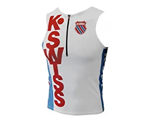 K-Swiss Tri Top Débardeur triathlon homme Brilliant Blue/Red FR : 52 (Taille Fabricant : L)