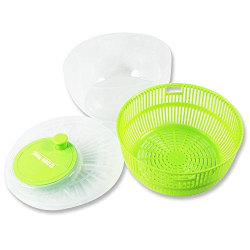 Com-Four® Essoreuse à salade avec manivelle et bec verseur, transparent, vert