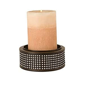 Wilco Imports Black Metal and Rhinestone Candle Holder, 4-1/2-Inch by 2-Inch High