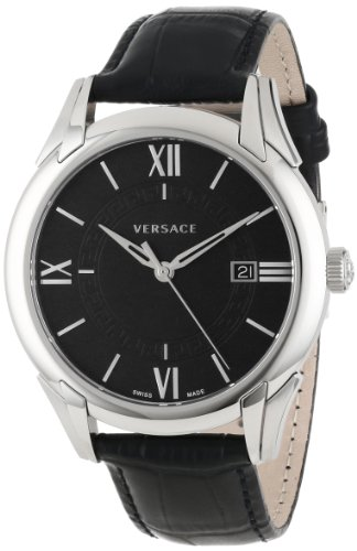 "Versace Men's VFI010013 ""Apollo"" Stainless Steel Casual Watch with Leather Band image"