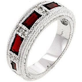 White Gold Rhodium Bonded Garnet Eternity Band with 5 Emerald Cut CZ in a Bezel Setting in Silvertone