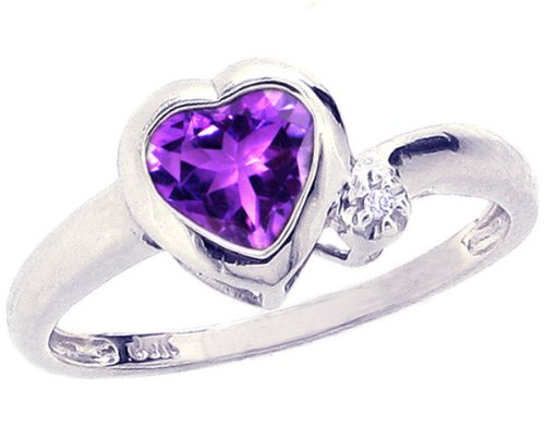 14K White Gold Simply Heart Gemstone Ring-Amethyst, size8.5