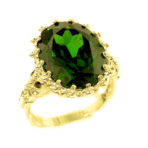 Luxury Solid 14K Yellow Gold Large 16x12mm Oval 12ct Synthetic Emerald Ring - Size 9.75 - Finger Sizes 5 to 12 Available - Perfect Gift for Birthday, Christmas, Valentines Day, Mothers Day, Mom, Mother, Grandmother, Daughter, Graduation, Bridesmaid.